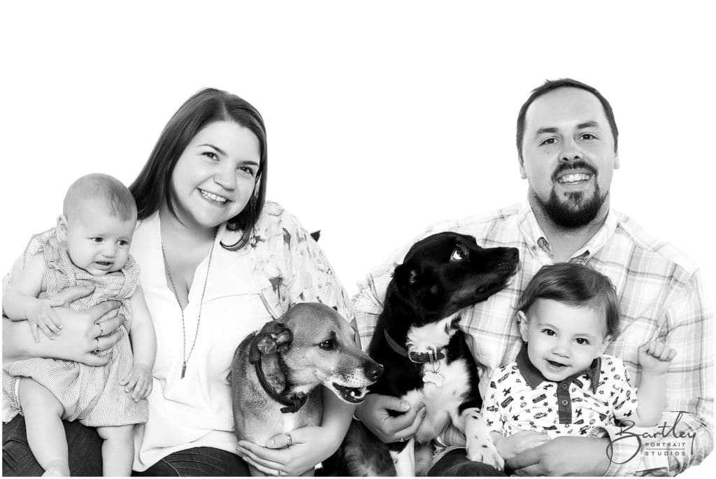 professional family portrait children and two dogs