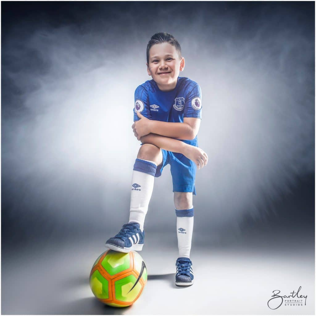 football kit in photography studio