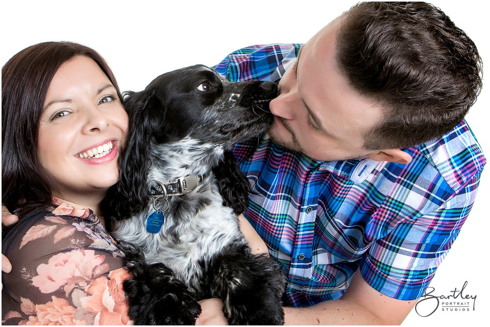Cocker Spaniel with couple portrait