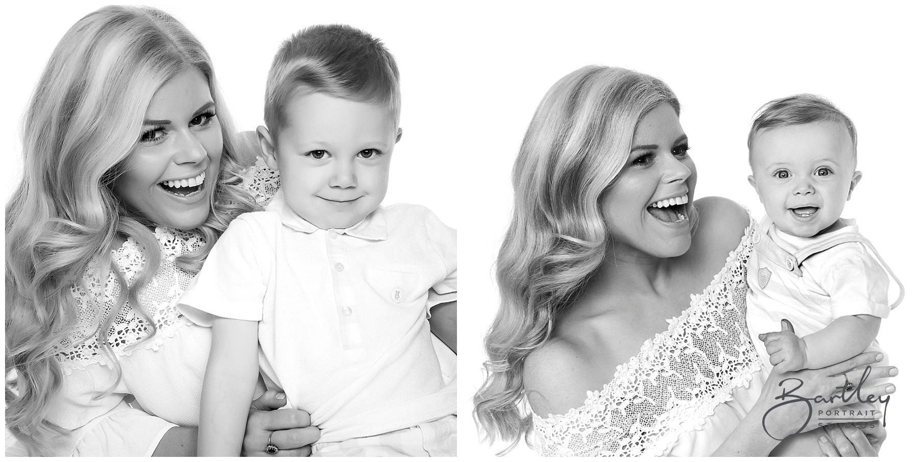 white tops family photograph takin in studio