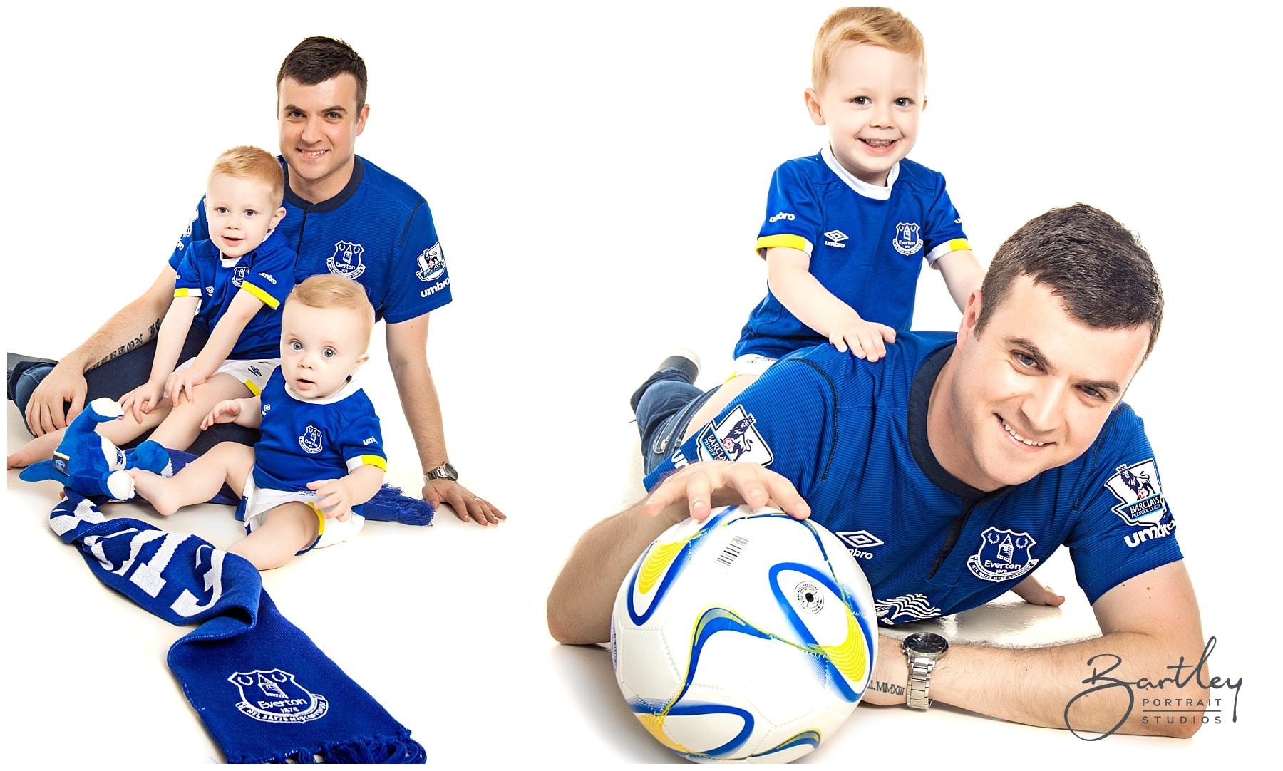 dad and sons in Everton football kit portrait