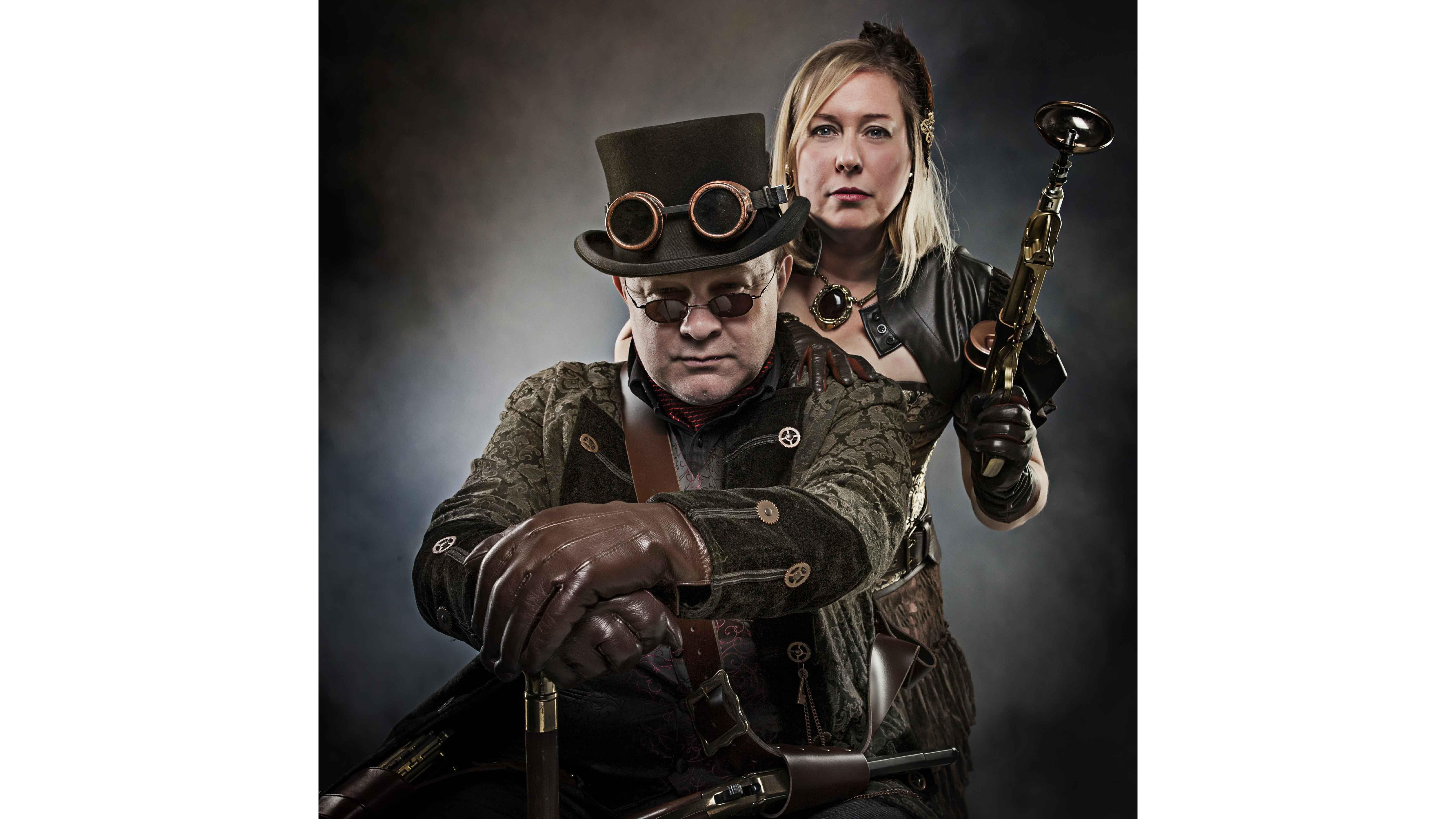 steam punk photo shoot couple guns goggles