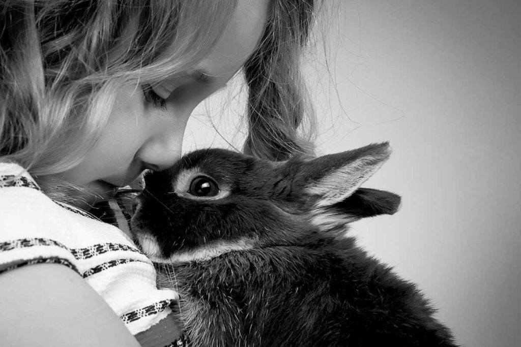 girl with rabbit kisses cute black and white studio photography bartley